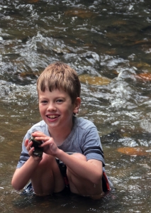 Landon in the river