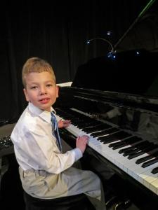 Landon at piano