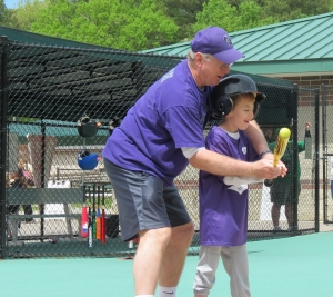 Landon batting at Miracle League