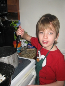 Landon in the kitchen.