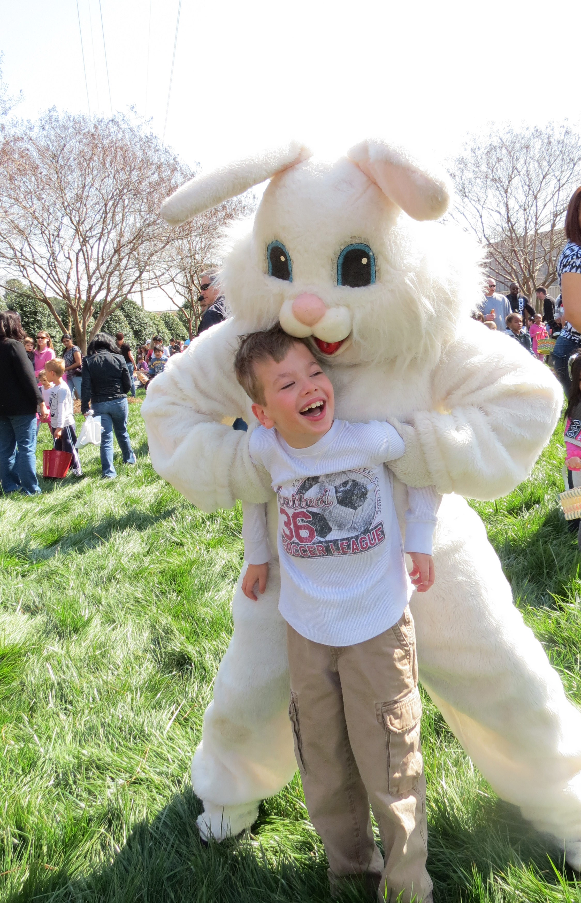 Landon having fun with the Easter Bunny